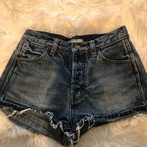 Free People Button Down Denim Shorts Size 24